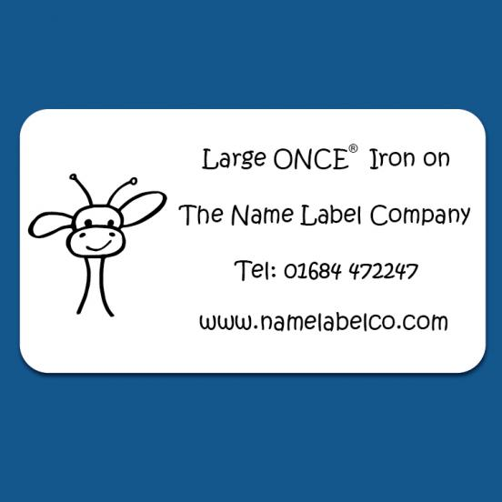 Large White ONCE® Iron on Name Labels