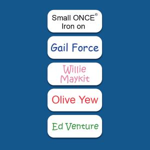Small White ONCE® Iron on Name Labels