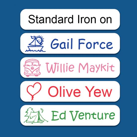 Standard White Iron on Name Labels