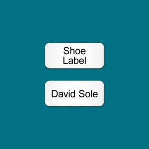 Stick On Shoe Vinyl labels (White Rectangular design)