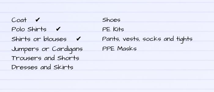school uniform labels clothing